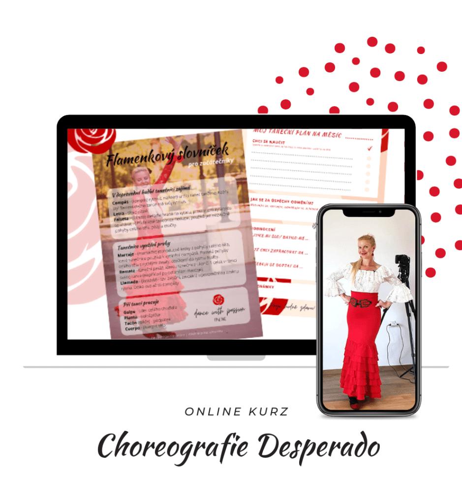 Online kurz flamenco choreografie Desperado na obrazovce počítače a mobilního telefonu