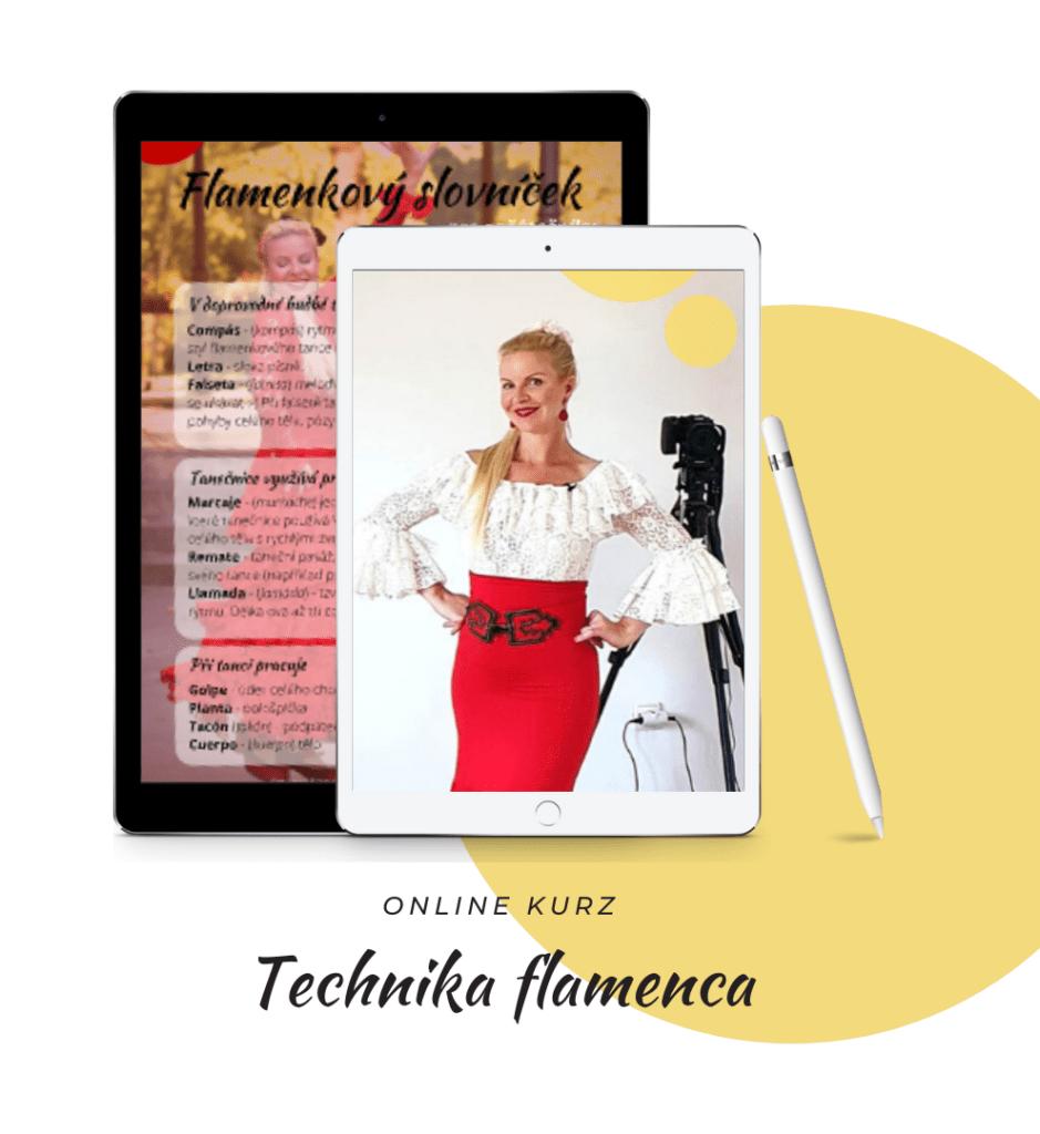 Tanečnice a lektorka flamenca Helena Korejtková na obrazovce tabletu